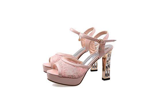 Pink Open High Toe AmoonyFashion Pu Buckle Solid Heels Sandals Womens 5TxRTwqCrz