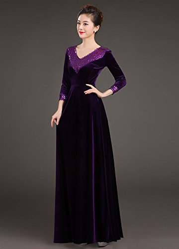 Drasawee Manches 3/4 Femmes Robes De Soirée Maxi De Robes De Bal Parti V-cou Violet