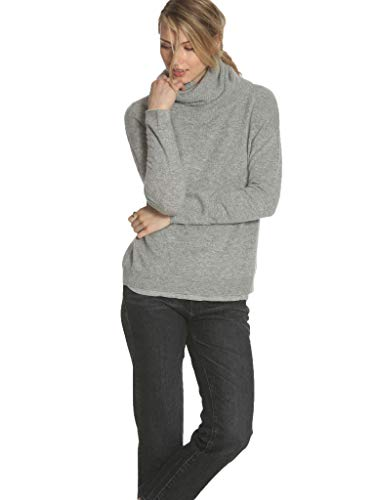 - Label + Thread Women's Cashmere Twisted Scrunch Neck Sweater - Grey