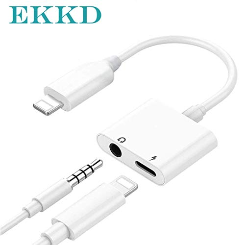 ekkd Adapter 3.5mm Aux Headphone Jack Adaptor Charger for iPhone 8/8Plus iPhone7/7Plus iPhone X/10 iPhone Xs/XSmax, 2 in 1 Earphone Audio Connector Jack Splitter Cable Accessories, Suppor IOS10-12