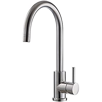 Beautiful Trywell T304 Solid Stainless Steel Kitchen Sink Faucet, High Arc Single  Lever Bar Faucet With