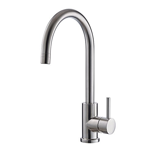 Best Deals! Trywell T304 Solid Stainless Steel Kitchen Sink Faucet, High Arc Single Lever Bar Faucet...