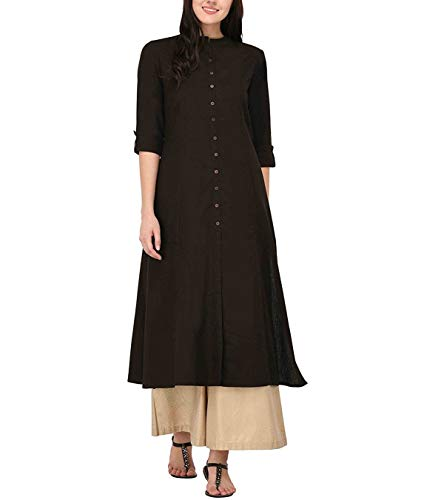 (Women's Pure Cotton Plain Tunic Top Front Slit 3/4 Sleeves Roll-UP Chinese Neck Buttons Down Pocket Long Kurti)