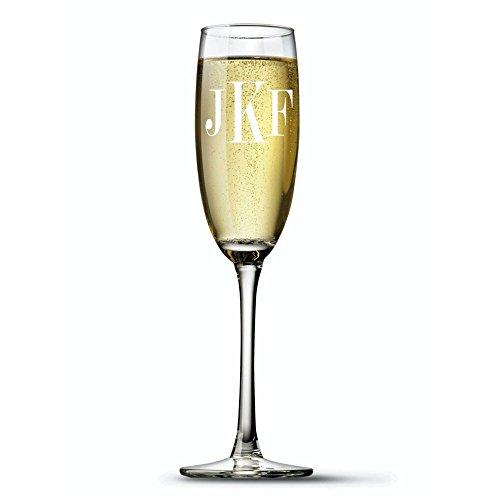 Monogram Etched Glass (Monogram Flute Glass, Monogrammed Champagne Flute Glass, Etched Wine/ Flute Glass, Housewarming Gift , Wedding GIfts (Fl)