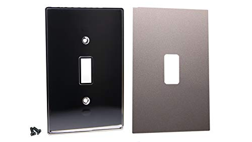 (Urban Chameleon-New Idea-2 Piece Type Light Switch Plate, Decorative 1-Gang Toggle Cover Chrome Plate with Removable, Reusable Easy Color Change Skin and Hidden Screws (Silver Pearl))