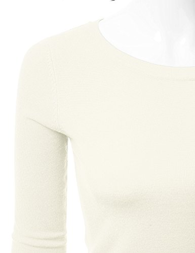 JJ Perfection Women s Simple Crew Neck Pullover Chic Soft Sweater Ivory M fce0a2d92