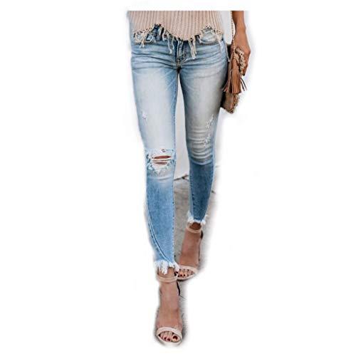 dalia + jade KANCAN KC8393L Women's Low-Rise Light Wash Distressed Fringe Hem Skinny Jeans (31/15, KC8393L - Light Wash)