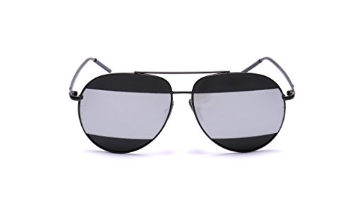 GAMT Double Color Aviator Sunglasses For Men Black Frame Silver - Split Sunglasses