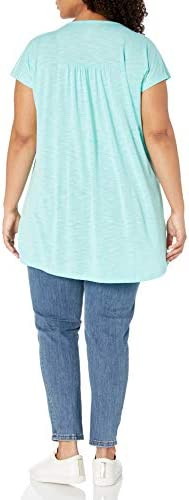 Just My Size Women's Plus-Size Slub Crochet Bib Tunic