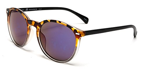 Frame Tortoise Brown (Samba Shades Florence Classic Round Horned Rim Sunglasses with Brown Tortoise Shell Frame, Black Temples, Grey Lens)