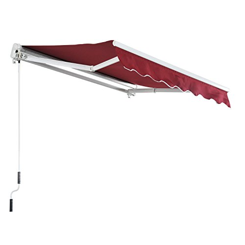 MCombo 10x8 Feet Manual Retractable Patio Door Window Awning Sunshade Shelter Outdoor Canopy (Burgundy) (Awnings Best For Patios)