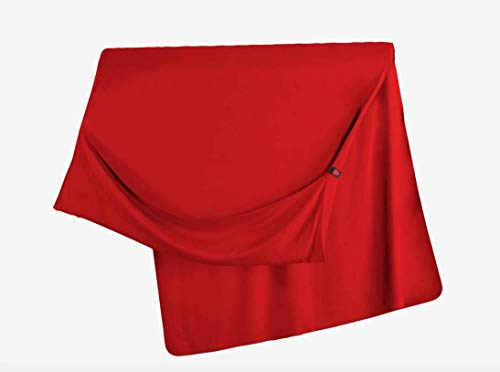 Grand Trunk Travel Throw Blanket - Warm Eco Friendly Soft Bamboo Blend, Cozy Foot Pockets - Lightweight, Packable for Camping, Airplane, Car, Work, Bright Crimson (Trunk Grand Parasheet)