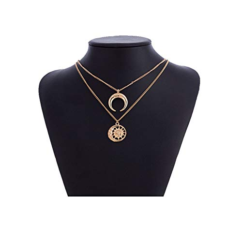 Multi-Layer Disc Horn Necklace Pendant Vintage Clavicle Chain Half Moon Sun Pendant Necklace Choker for Women Girls(Gold)