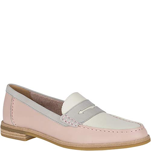 SPERRY Women's Seaport Penny Tri Tone Loafer, Blush/Ivory/Grey, 8