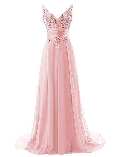Alagirls Long V Neck Prom Dress Chiffon Sequins Evening Dress Blush Us18plus