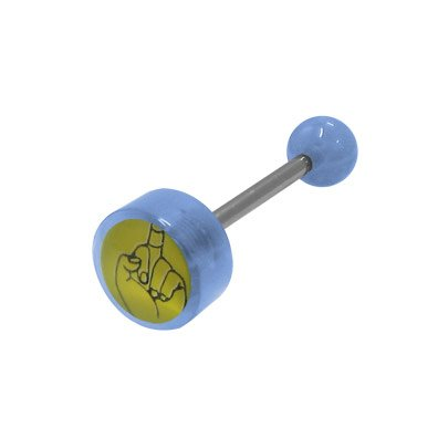 Light Blue Barbell Tongue Ring (Middle Finger Logo Barbell Tongue Ring - Light Blue Acrylic Beads)