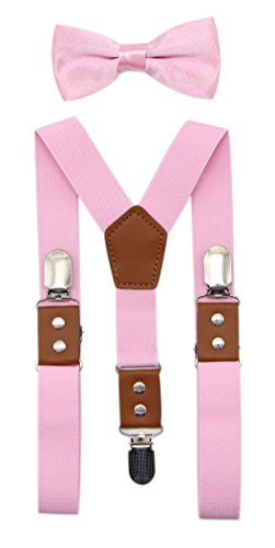 JAIFEI Suspender & Bowtie Set For Men, Teens & Boys | Long Elastic Band, Durable Plastic Teeth & High End PU Leather (Men(48 Inches), Pink) by JAIFEI