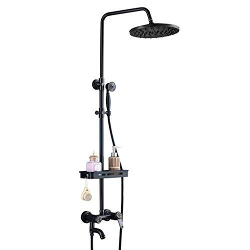 Full Copper Black Shower Set, 8 Inch Shower Head For Household Shower, Hand-held Supercharger Shower For Bathroom (third Gear Adjustment)