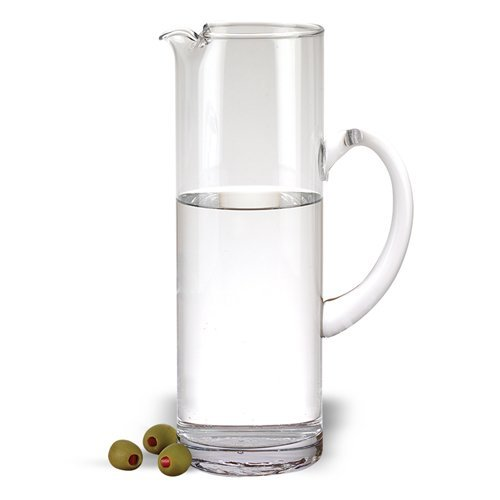 Badash - Celebrate Mouth Blown Glass Straight Sided Beverage or Martini Pitcher H11.5