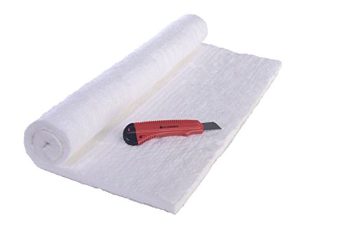 "Ceramic Fiber Insulation 25"" X 24"" X 1/2"" 8# 2400 F Morgan Ceramics with CM-Ceramics Knife, Safety Instructions, Product Data Sheets, and Wood Stove Plans. Product Bundle"