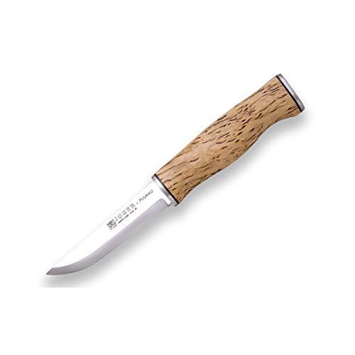 Joker Cuchillo de Monte Puukko CL127, Mango de Abedul Rizado, Hoja de 10 cm en Acero Sandvik 14C28N, Incluye Funda Piel marrón, Herramienta de Pesca, ...