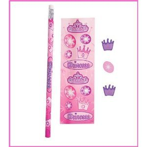 RIN Educational Products 12 Packs of Princess Stationary Sets Girls Princess Party Bag Favors, Princess Stickers, Pencil and Erasers in Each 5 Piece Set.