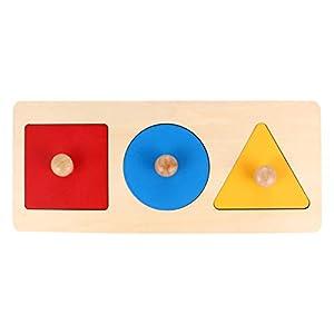 TOYANDONA 1 Pieces Baby Wooden Shape Puzzles,Montessori Wood Knob Puzzle Peg Board Geometric Shape Match Baby…