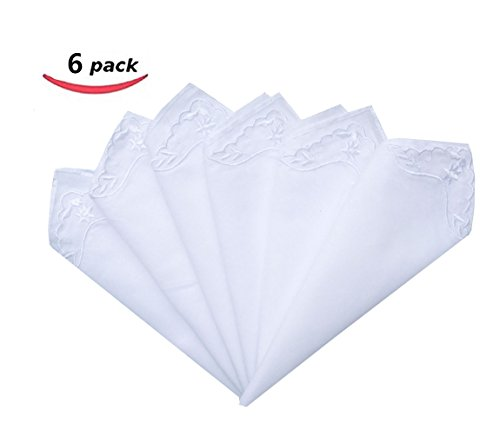 MileyMarla Ladies Embroidery Cotton White Handkerchiefs Lace Wedding HankiesB-6pcs (Wedding Hanky Handkerchief)
