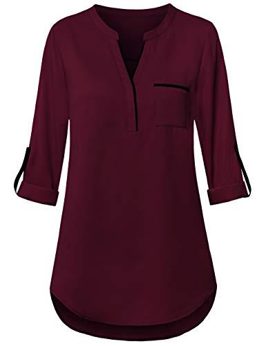 FANSIC Women V Neck High Low Hem Chiffon Blouses Top 3/4 Roll Sleeve Casual Tunics Blouse Wine Red and Black XXL (Chiffon Pocket)