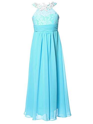 FAIRY COUPLE Little Girl's Applique High Round Neckline Flower Girl Party Dress K0204 6 Turquoise by FAIRY COUPLE
