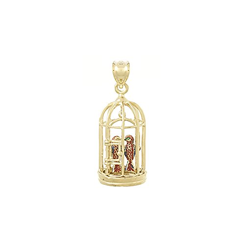14k Yellow Gold Animal Charm Pendant, 3D Bird Cage with 2 Birds & Moveable Swing, Door Opens