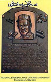 Autographed Whitey Ford Picture - HOF Plaque - Autographed MLB Photos