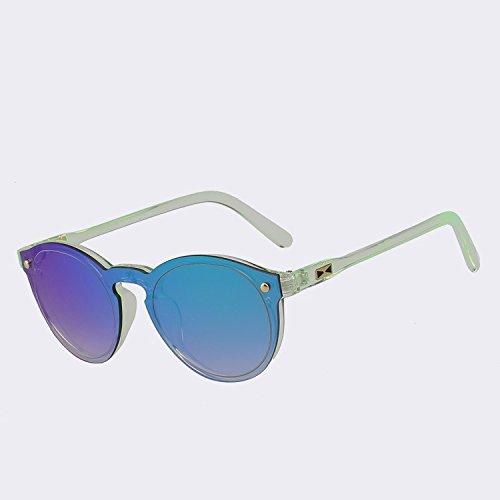 para TIANLIANG04 sol rojo gafas de Hombre de lentes gafas Figura para reborde espejo sin las espejo redonda UV400 green de Mujer mirror sol mujer 6qY6r1v