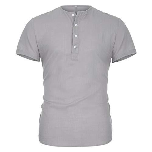 DIOMOR Men's Summer V Neck Henleys Shirts Fashion Pure Cotton and Hemp Short Sleeve Comfortable Top Blouse Gray
