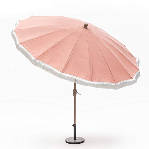 - Outdoor Collection Summer Coral 9 Foot Patio Umbrella with Fringe Market Umbrella Crank Lift Push Button Tilt