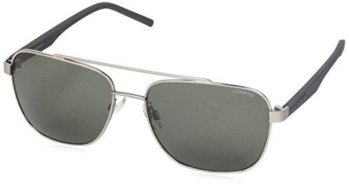 Polaroid Sunglasses Men's Pld2044s Polarized Rectangular Sunglasses, Ruthenium, 60 mm 2044 Designer Sunglasses