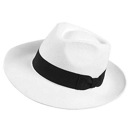 Janey&Rubbins Genuine 100% Wool Panama Wide Brim Fedora Hat - Black/White Gangster Trilby Cap, Large Size for Men (White, L)