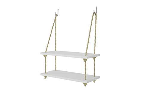 Manhattan Comfort Uptown Collection Contemporary Reclaimed Wooden Pine Two Swing Shelves With Rope String, White/Yellow -