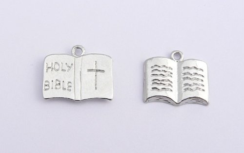 Holy Bible Charm - Silver Plated