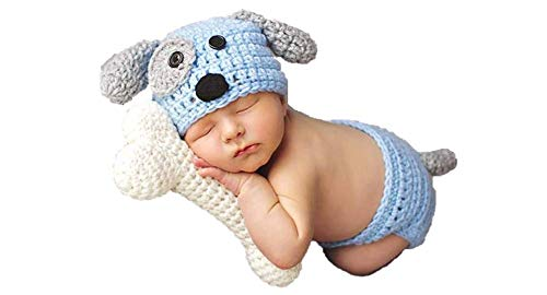 Newborn Baby Girl/Boy Crochet Knit Costume Photography Prop Hats and Outfits (Puppy and Bone Treat)