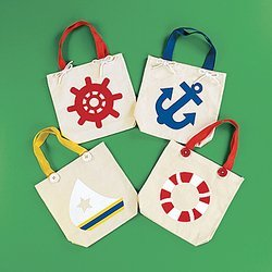 Natural Canvas Nautical Tote Bags (1 dz) - Fun Beach Bag