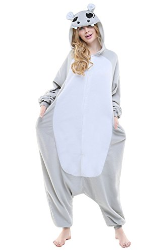 CANASOUR Polyster Adult Halloween Party Unisex Women's Onesie Costume (Large, Grey Hippo)]()