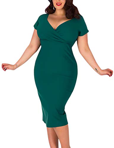 MUXXN Ladies Plus Size Tunic Midi Casual Wiggle Mother of The Brides Knee Length Dress (Dark Green 4X)