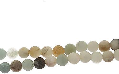 Perlin 50 pi/èces ite Perles de 4 mm givr/ées Mat Grade A Boule de Pierres Naturelles