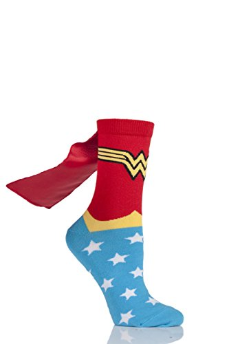 Ladies 1 Pair DC Wonder Woman Cape Socks Assorted 4-8 - Socks Woman With Wonder Capes