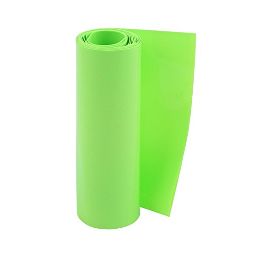 uxcell 100mm Flat Width 5M Length PVC Heat Shrink Tube Green for 18650 Batteries
