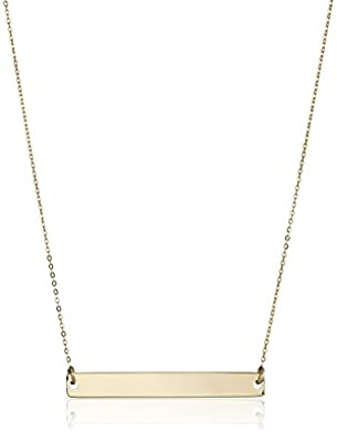 14k Yellow Gold Polished Bar Chain Necklace, 17""