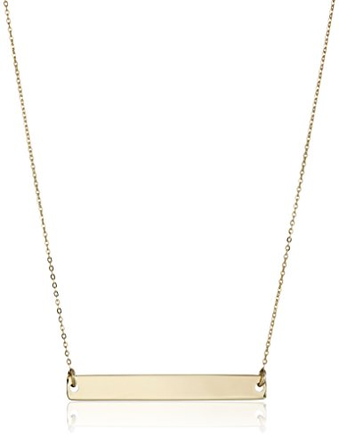 14k Yellow Gold Polished Bar Chain Necklace, 17