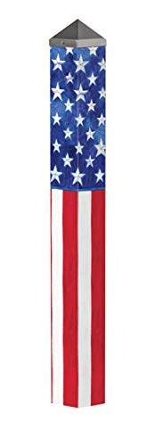 Studio M Stars and Stripes Forever Art Pole Patriotic American Flag Outdoor Decorative Garden Post, Made in USA, 40 Inches Tall