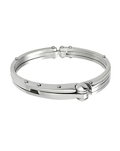 iJewelry2 Silver-tone Stainless Steel Handcuff Bangle Bracelet - Locking Bracelet